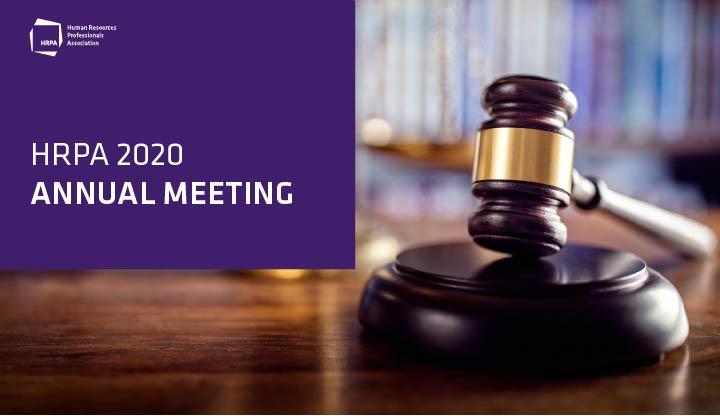 HRPA 2020 Annual Meeting, gavel on podium