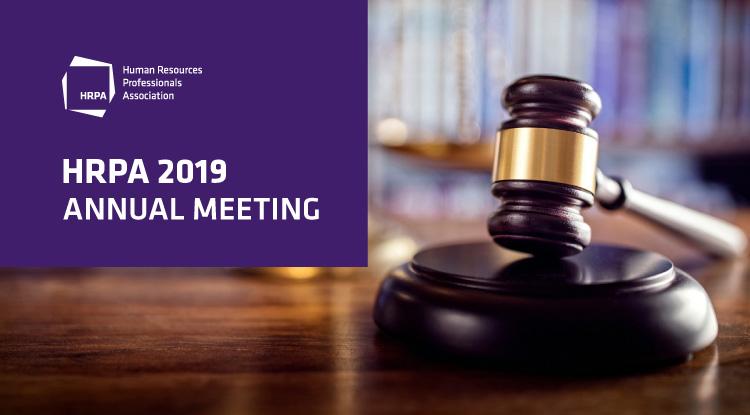 HRPA 2019 Annual Meeting, gavel on podium