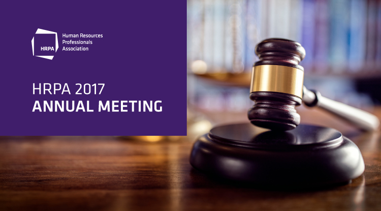 HRPA 2017 Annual Meeting, gavel on podium