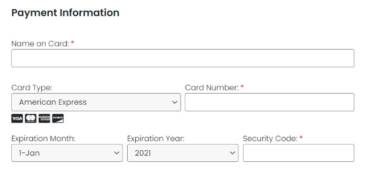 Image of credit card form