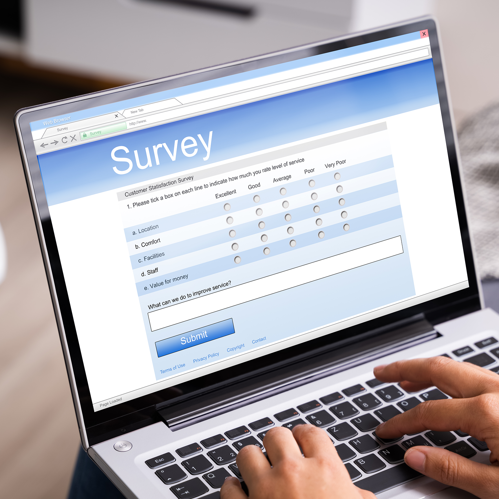computer with a survey
