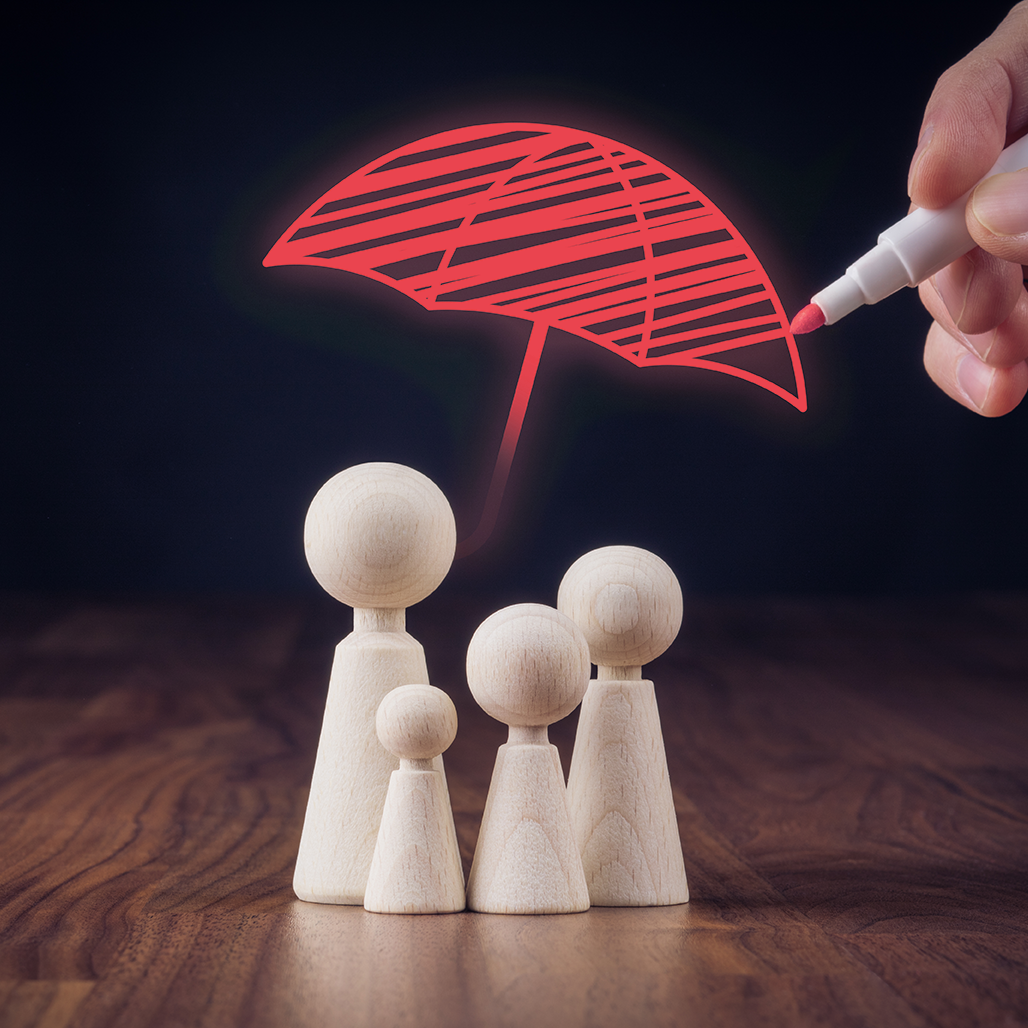 image of an umbrella covering wooden figures